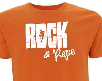 ORGANIC unisex orange cotton T-shirt ROCK - ROPE