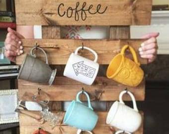 A gentlemans coffee mug rack