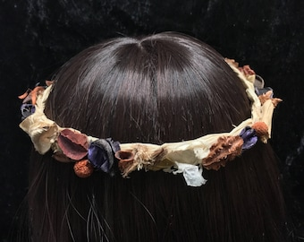 Dried Everlasting 52cm Rustic Boho Flower Crown Wreath