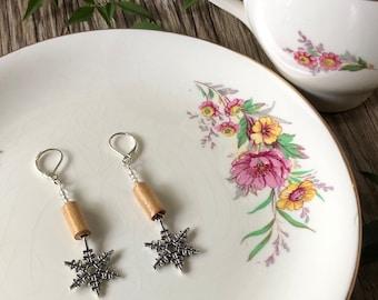Snowflake paper bead dangle earrings on sterling silver lever back hooks