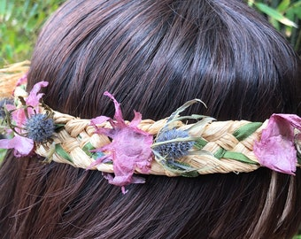 Dried flower 59cm flower crown wreath purple green and cream