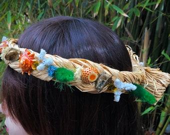 Dried flower crown 59cm wreath nautical theme