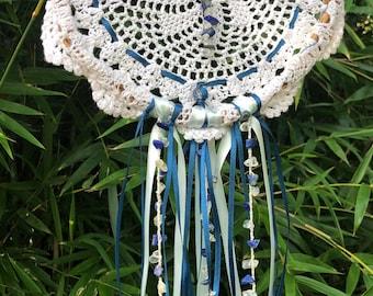 Dream Catcher Crochet Wall Hanging Decoration Blue and White Dreamcatcher Decor Lapiz