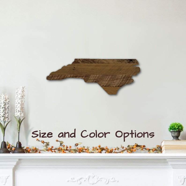 Wall Art Decor Home Plaque Gift Wooden North Carolina State Sign Shaped Large Cutout Handmade With Rustic Reclaimed Wood From Pallets