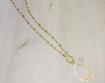Gold & Green Teardrop Necklace