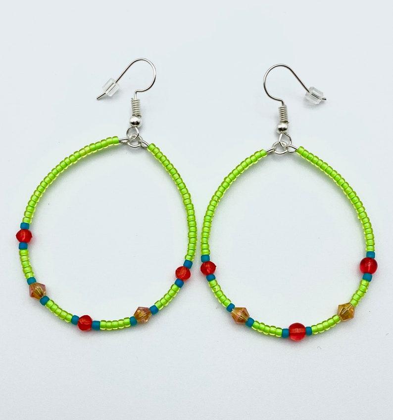 Lime Green Hoop Earrings