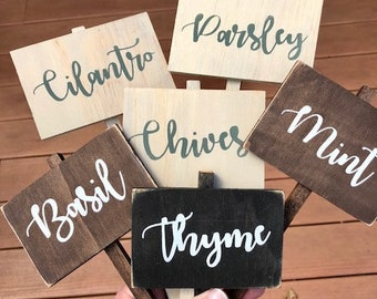 Rustic Herb Markers, herb signs, herb stakes, mint, basil, cilantro, oregano, dill, chives, parsley, rosemary, garden signs, herb markers