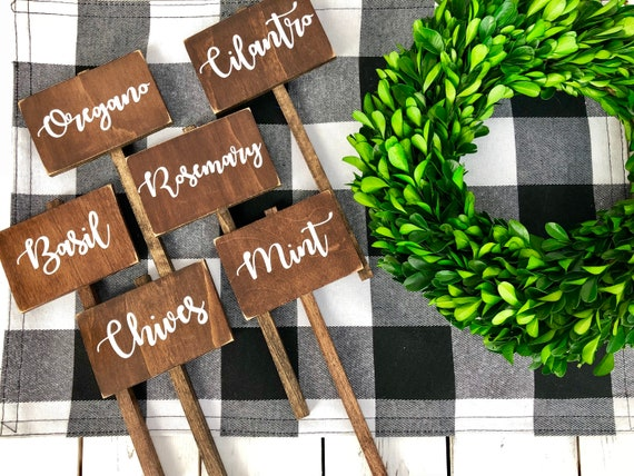 Herb /&//or Vegetable plant garden markers on stakes Tags set of 12 YOUR CHOICE