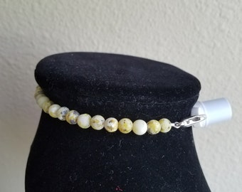 MATTE YELLOW TURQUOISE beaded trach ties/ trach collar