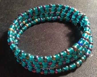 Blue tones Wrap Bracelet