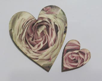 Two Hearts with Roses - Set of Two Fridge Magnets