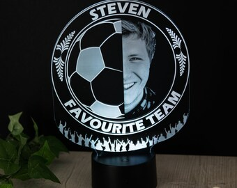 Personalised Gift For Him Football Team Engraved Photo Night Light