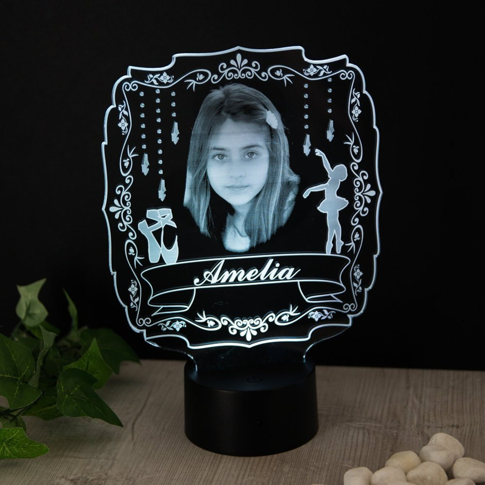 ballerina gift for her personalised with photo name night light 16 colours ballet shoes dance silhouette