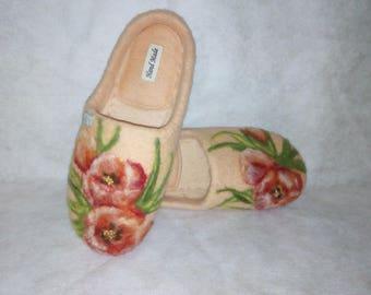 "Felted Slippers with flowers""Tenderness"" for women, handmade"