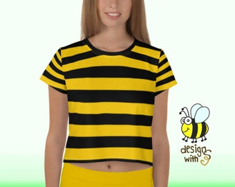 02fdff3b45 Bumble Bee T-Shirt Crop Top I Queen Honey Bees Funny Costume Black & Yellow  Striped Stripes Cropped Shirt For Women Girls I Trend Loose Fit