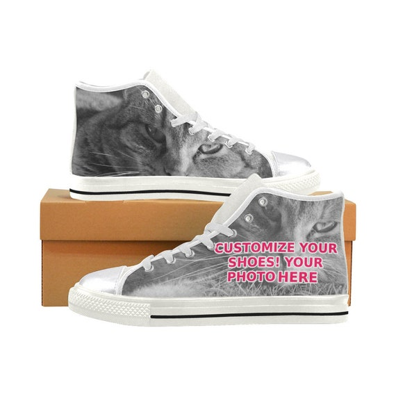 118d180ff234d Custom personalized Shoes Sneakers - Women's Girls Classic High Top Canvas  with your own Photo, Graphic or Text! Flat printed Print Shoes