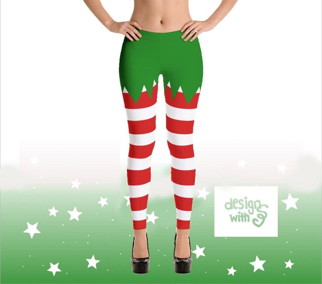 7c6652e182adf Christmas Elf Leggings I Red White Green Stripes I Cute Print | Etsy