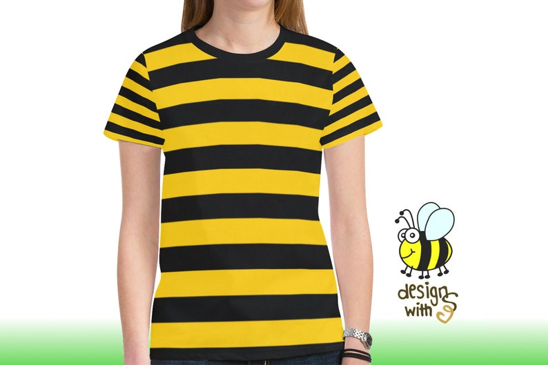 2ab3696b01 Bumble Bee T-Shirt Yellow Black Striped I Queen Honey Bees | Etsy