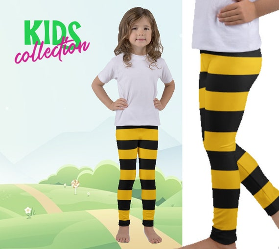 Witch Leggings Yellow Green Stripes I Cute Striped Carnival Costume Yoga Workout Microfiber Pants I Stretchy /& Comfy For Girls Women XS-XL