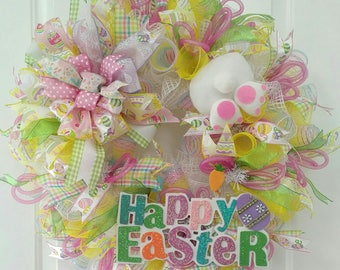 Happy Easter Deco Mesh Wreath - Easter Wreath - Easter Front Door Wreath - Bunny Wreath - Easter Bunny Door Wreath - Easter Bunny Decor