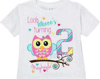 Owl Cute Personalized T Shirt Customize NAME And AGE Tee Designs Toddler Youth Adult Sizes Birthday Party Custom