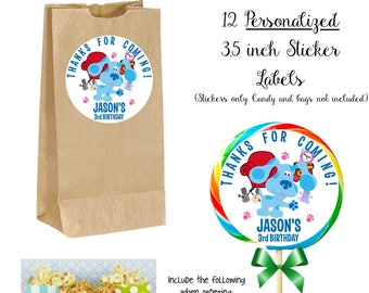 12 JUMBO BLUES CLUES Personalized Lollipop Stickers, Use for Goody Bags, envelope seals, etc - 3.5inch diameter