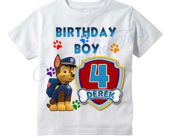 3b21a942 CHASE Paw Patrol PERSONALIZED T-shirt, Customize Name/Age Tee Designs,  Toddler, Youth, Adult Sizes, Birthday party custom