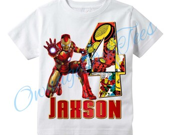 Iron Man Superhero PERSONALIZED T Shirt Customize NAME And AGE Tee Designs Toddler Youth Adult Sizes Birthday Party Custom