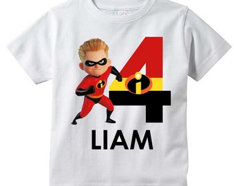 The Incredibles PERSONALIZED T Shirt Customize NAME And AGE Tee Designs Toddler Youth Adult Sizes Birthday Party Custom