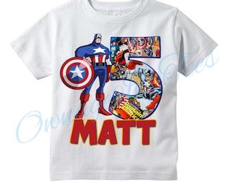 c29a4a9d4f3 Captain America Superhero Personalized T-shirt