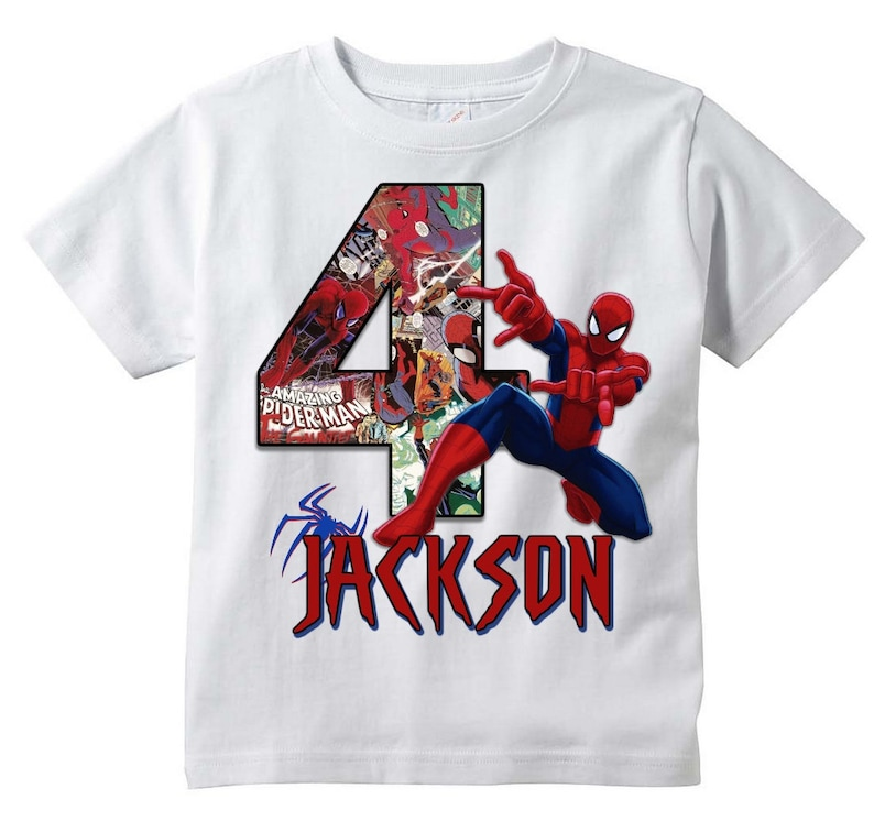 024128f4d Spiderman T-shirt PERSONALIZE Add Name/Age Tee Designs | Etsy