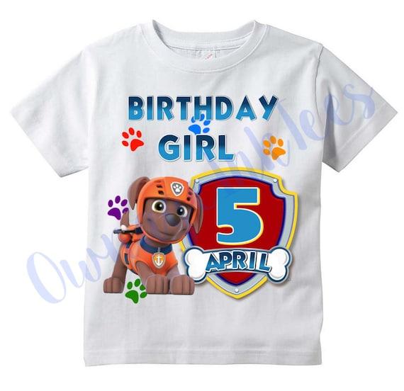 Paw Patrouille Anniversaire T-shirt avec Chase//Personnalisé//Enfants//Bambin//Bébé//Enfant