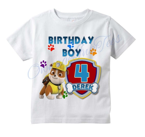 differently Official Website classic style RUBBLE Paw Patrol PERSONALIZED T-shirt, Customize Name/Age Tee Designs,  Toddler, Youth, Adult Sizes, Birthday party custom