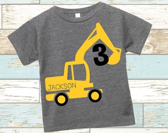 Excavator Construction Digger | Bella + Canvas | PERSONALIZED T-shirt | Variety of COLORS | Construction Theme Birthday | Custom