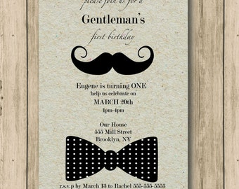 Little Gentleman, Invitation, first birthday, one, birthday, invitation, birthday boy