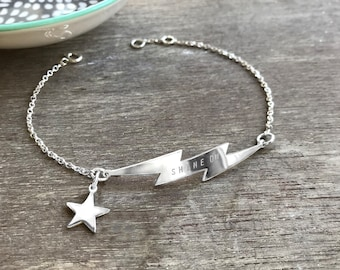 4a792234853 Personalised Sterling Silver Lightning Bolt Bracelet with Star Charm, flash  bracelet, celestial jewellery, anniversary gift, birthday gift