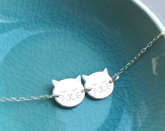 649e48e1c Personalised Sterling Silver Little Twin Cat Face Bracelet, cat bracelet, silver  cat bracelet, gift for cat lovers, birthday gift