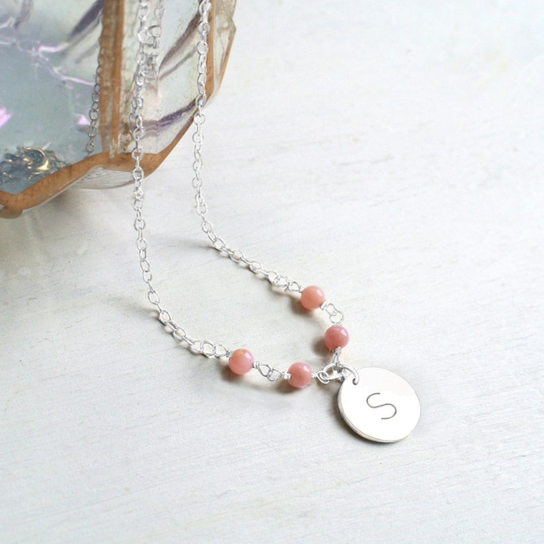 b51adcd62f7be Personalised Sterling Silver Little Initial Disc and Semiprecious Stone  Necklace, initial necklace, disc necklace