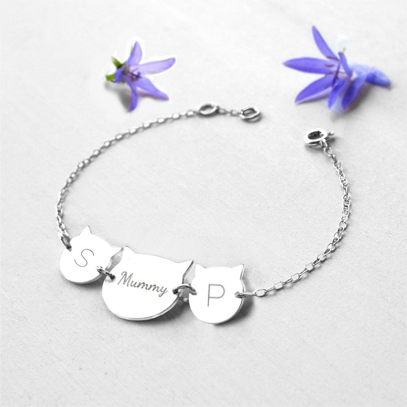 cat bracelet birthday gift for mum Personalised Sterling Silver Mummy and Baby Cat Faces Bracelet cat lovers gift Mother/'s Day gift