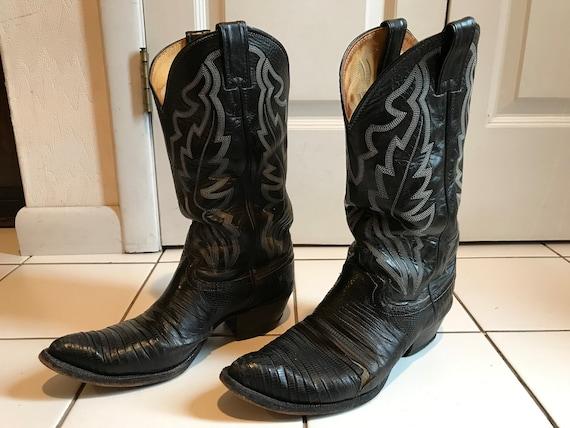 1980s Black Cowboy Boots, White Stiching - Justin
