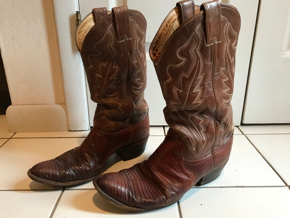 1980s Brown with White Stiching Justin Cowboy Boot