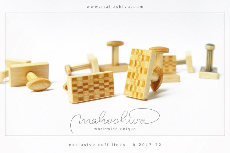 wooden cuff links wood cherry maple handmade unique exclusive limited jewelry mahoshiva k 2017-72