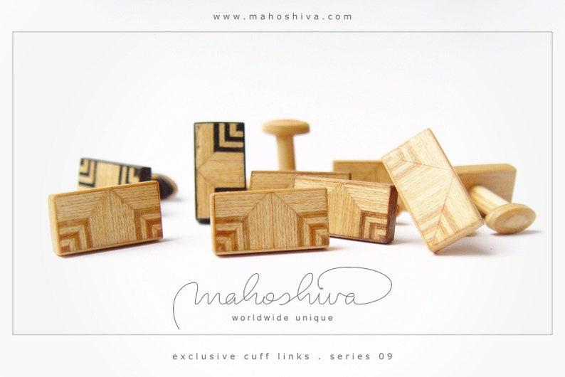 wooden cuff links wood fumed oak maple handmade unique exclusive limited jewelry mahoshiva k 2018-38