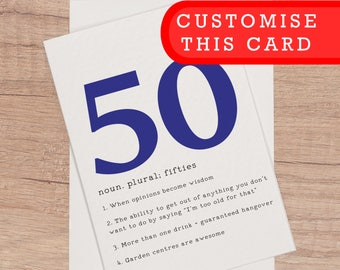 50th Birthday Card For Him Personalised 50th Happy Birthday