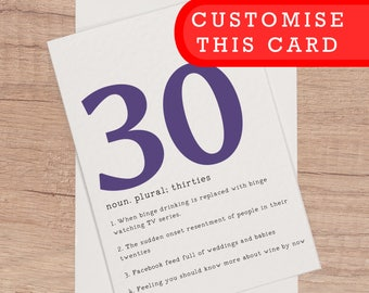 30th Birthday Card Funny Cards Customised Bday 30 Thirtieth Personalised For Him Her Definition