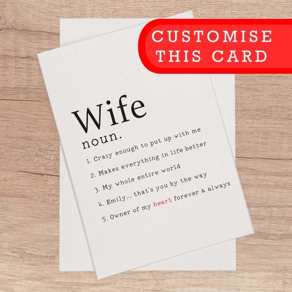 Custom Wife Card Blank Birthday Anniversary Customisable Personalise Card Personalized Name Text Custom Romantic Birthday Card For Her