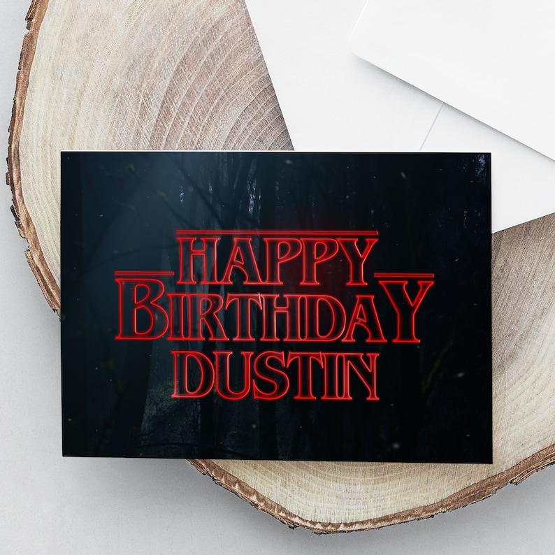 Stranger Things Birthday Card Stranger Things Font Custom   Etsy