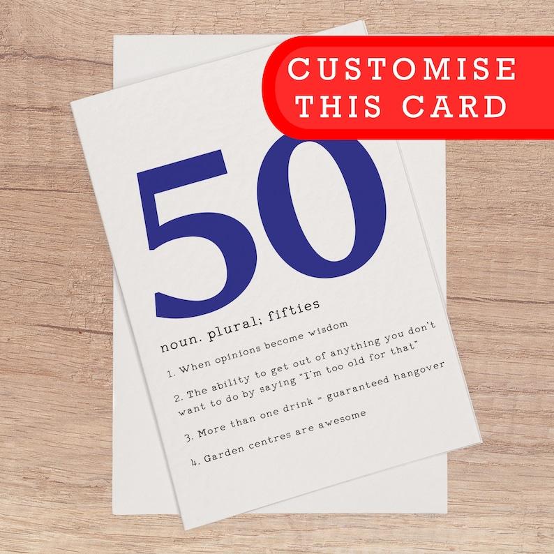 50th Birthday Card Funny Birthday Cards Customised 50th Funny