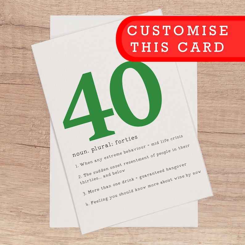 40th Birthday Card Funny Cards Customised