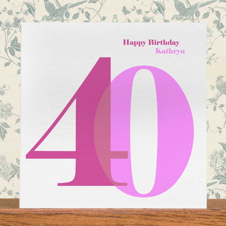40th Birthday Card For Her Personalised Happy